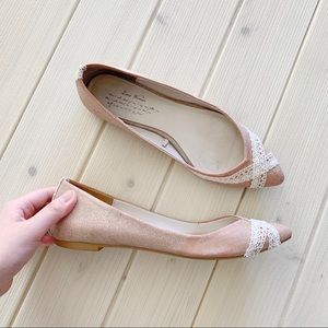 ZARA Rose Gold Glitter Lace Pointed Toe Flats US 7